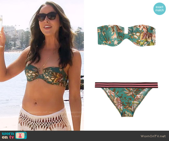 Zimmermann Tropical Printed Bandeau Bikini worn by Ashleigh Brewer on The Bold & the Beautiful