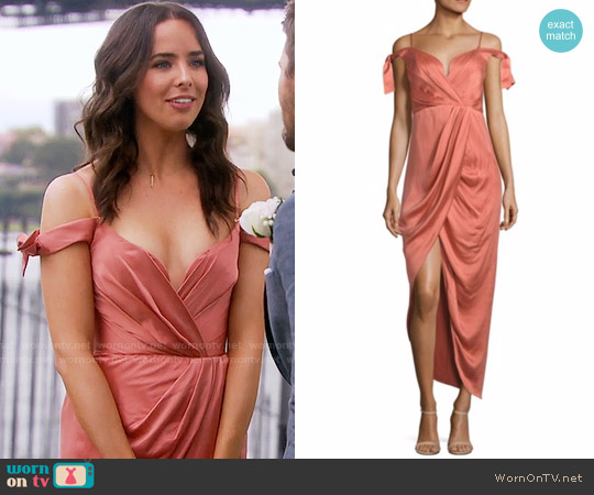 Zimmermann Winsome Draped Cocktail Dress worn by Ivy Forrester (Ashleigh Brewer) on The Bold & the Beautiful