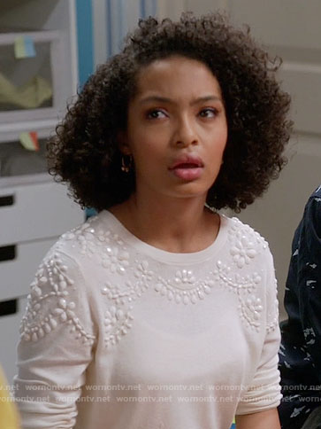 Zoey's white embellished sweater on Black-ish