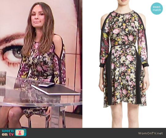 3.1 Phillip Lim Meadow Flower Print Silk Cold Shoulder Dress worn by Catt Sadler  on E! News