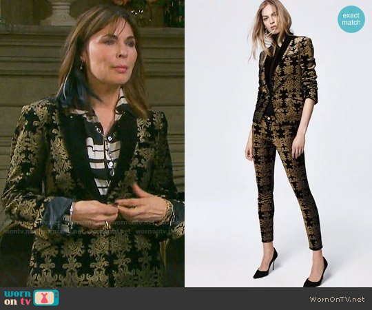 7 For All Mankind Brocade Velvet Blazer and Jeans worn by Lauren Koslow on Days of our Lives