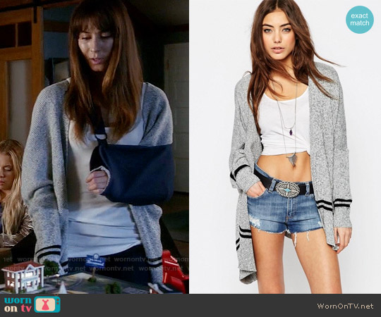 ASOS Boxy Cardigan With Stripe Hem Detail worn by Troian Bellisario on PLL