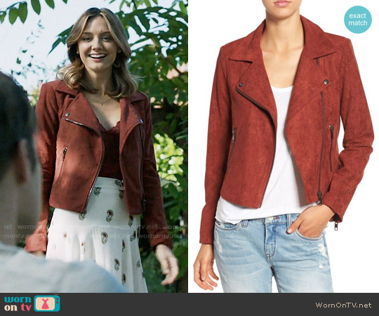 ASTR Faux Suede Moto Jacket in Rusted Tan worn by Megan Morrison (Christine Evangelista) on The Arrangement