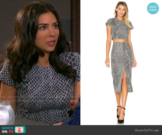 Alice + Olivia Latisha Top and Spiga Skirt worn by Gabi Hernandez (Camila Banus) on Days of our Lives
