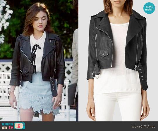 All Saints Brooklyn Leather Biker Jacket worn by Lucy Hale on PLL