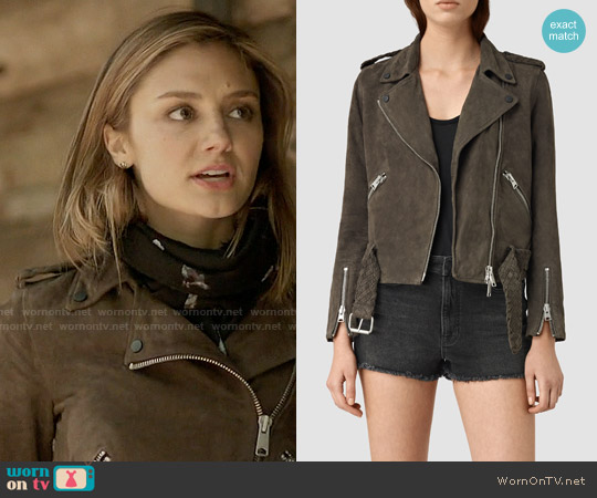 All Saints Braided Wyatt Biker Jacket worn by Christine Evangelista on The Arrangement