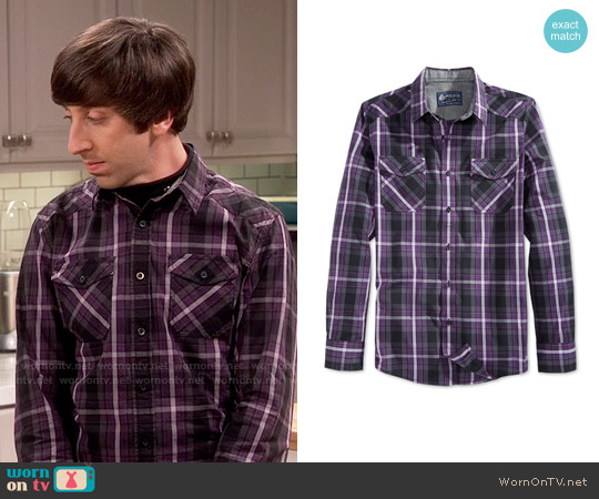 American Rag Entrekin Plaid Shirt worn by Simon Helberg on The Big Bang Theory