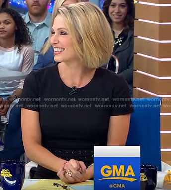 Amy's black short sleeve dress on Good Morning America