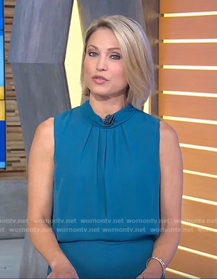 Amy's blue sleeveless mini dress on Good Morning America