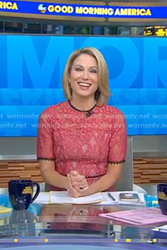 Amy's pink lace dress with back cutout on Good Morning America