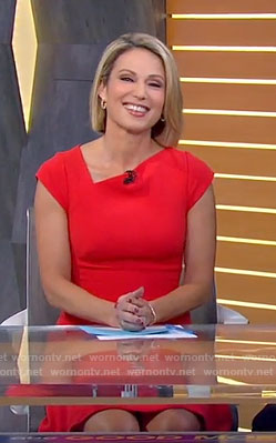 Amy's red asymmetric neck dress on Good Mornng America