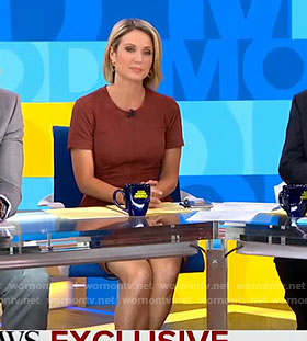 Amy's red round neck dress on Good Morning America