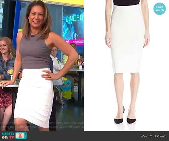 Leger Mid-Length Knit Pencil Skirt by Bcbgmaxazria worn by Ginger Zee on Good Morning America
