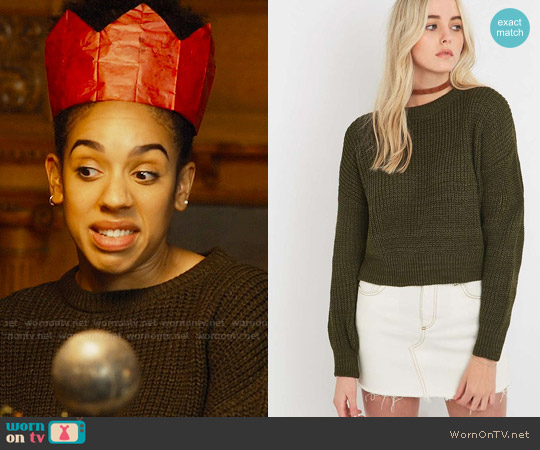 BDG Waffle Knitted Fisherman Jumper worn by Bill Potts (Pearl Mackie) on Doctor Who