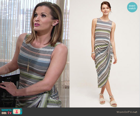 Bailey 44 Gathered Stripes Midi Dress worn by Chelsea Lawson (Melissa Claire Egan) on The Young & the Restless