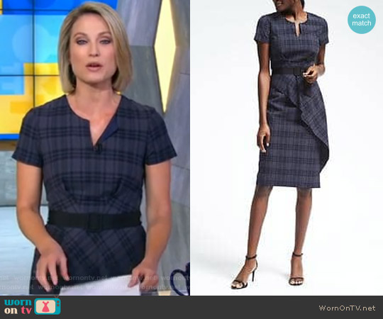 Blue Plaid Seersucker Dress by Banana Republic worn by Amy Robach (Amy Robach) on Good Morning America