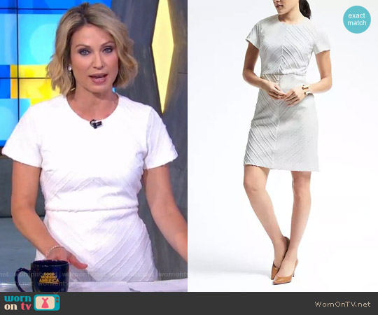 Clip Jacquard Sheath Dress by Banana Rrepublic worn by Amy Robach  on Good Morning America