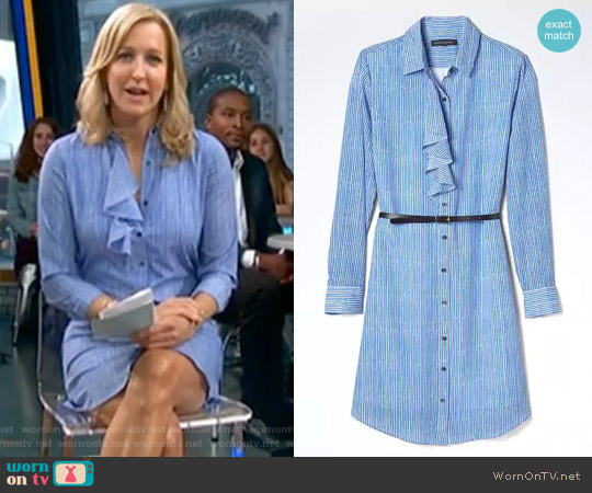 Stripe Ruffle-Front Shirtdress by Banana Republic worn by Lara Spencer  on Good Morning America