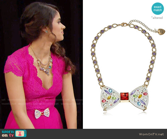 Betsey Johnson Sweet Shop Bow Necklace Belt worn by Danube Hermosillo on The Bold & the Beautiful