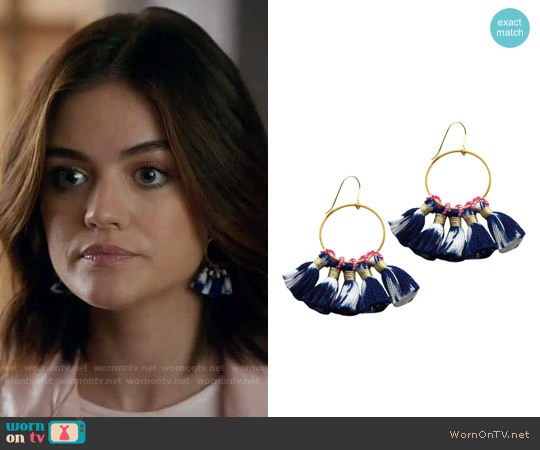 Bluma Project Shiloh Ikat Hoop Earring in Indigo worn by Lucy Hale on PLL