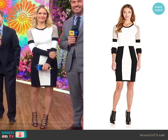 Color-Block Long-Sleeve Sweater Dress by Calvin Klein worn by Sara Haines on Good Morning America