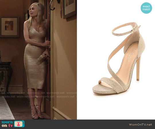Carvela Kurt Geiger Gosh Asymmetrical Sandals worn by Ashley Abbott on The Young & the Restless