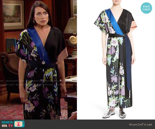 Diane von Furstenberg Faux Wrap Silk Jumpsuit worn by Quinn Fuller (Rena Sofer) on The Bold & the Beautiful