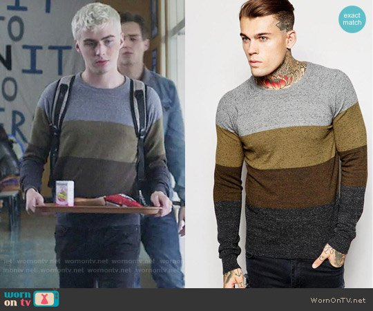 Diesel Crew Knit Sweater K-Calib-A Block Stripe worn by Alex Standall (Miles Heizer) on 13 Reasons Why
