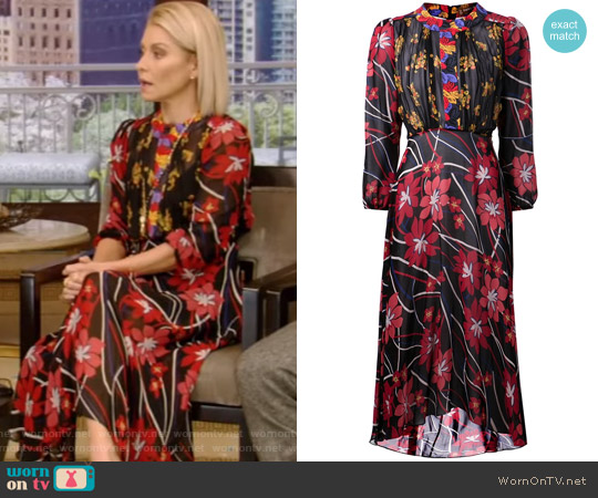 Floral Print Dress by Duro Olowu worn by Kelly Ripa on Live with Kelly & Ryan