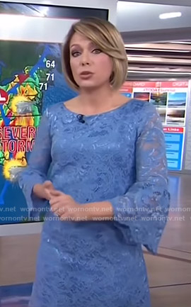 Dylan's blue lace dress with bell sleeves on Today