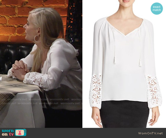 Elie Tahari Mariella Lace Silk Peasant Blouse worn by Eileen Davidson on The Young & the Restless