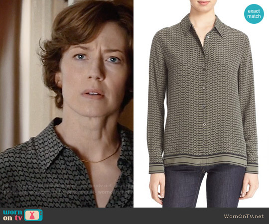 Equipment Shiloh Printed Silk Top worn by Carrie Coon on The Leftovers
