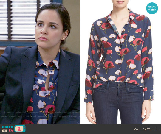 Equipment Slim Signature Floral Blouse worn by Melissa Fumero on Brooklyn Nine-Nine