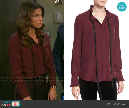 Frame Ruffle Neck Long-Sleeve Blouse worn by Kristian Alfonso on Days of our Lives