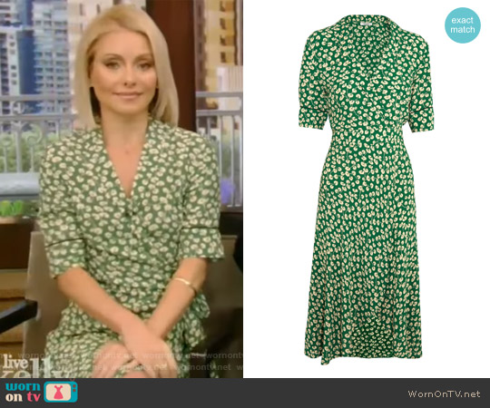 Dalton floral-print crepe wrap dress by Ganni worn by Kelly Ripa on Live with Kelly & Ryan