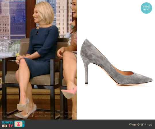 Point-Toe Suede Pumps by Gianvito Rossi worn by Kelly Ripa on Live with Kelly & Ryan