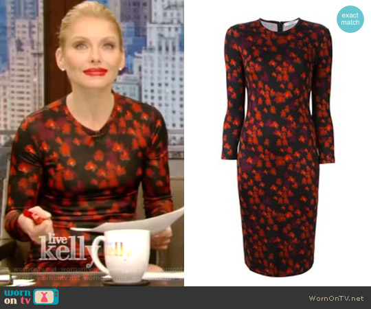 Abstract Floral Print Dress by Givenchy worn by Kelly Ripa on Live with Kelly & Ryan