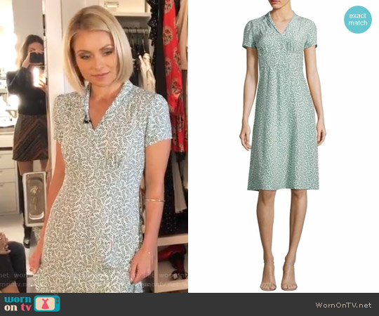 Morgan Forties Printed Silk Dress by Harley Viera Newton worn by Kelly Ripa (Kelly Ripa) on Live with Kelly & Ryan