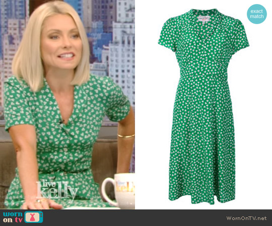 Floral Print V-Neck Dress by Harley Viera Newton worn by Kelly Ripa on Live with Kelly & Ryan