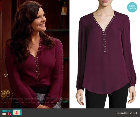 Haute Hippie Sagat Split-Sleeve Silk Blouse worn by Heather Tom on The Bold & the Beautiful