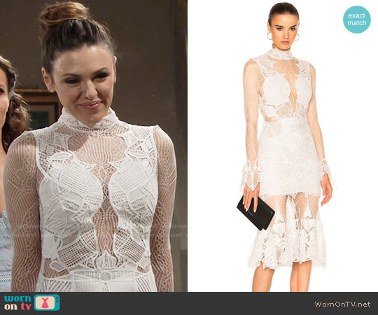 Jonathan Simkhai Linear Dome Lace Dress worn by Elizabeth Hendrickson on The Young & the Restless