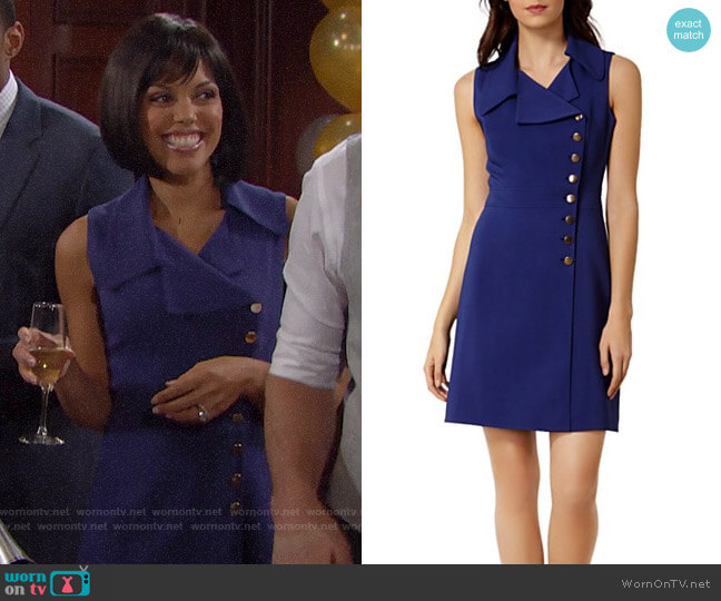 Karen Millen Button Detail Dress worn by Maya Avant (Karla Mosley) on The Bold & the Beautiful