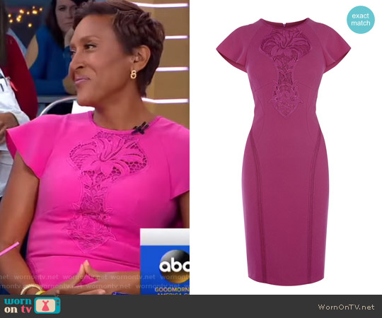 Floral Lace Panel Pencil Dress by Karen Millen worn by Robin Roberts on Good Morning America
