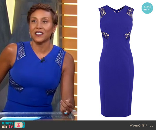 Karen Millen Lace Panel Pencil Dress worn by Robin Roberts  on Good Morning America