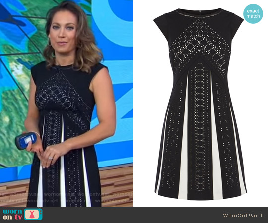 Laser Cut Monochrome Dress by Karen Millen worn by Ginger Zee  on Good Morning America