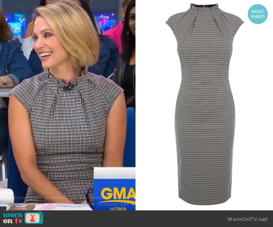 Pleat-Neck Detail Dress by Karen Millen worn by Amy Robach on Good Morning America