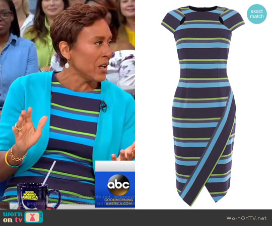 Striped Asymmetric Pencil Dress by Karen Millen worn by Robin Roberts on Good Morning America