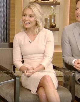 Kelly's beige v-neck dress on Live With Kelly