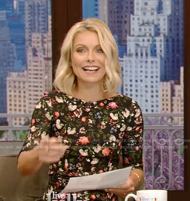 Kelly's black floral print dress on Live With Kelly