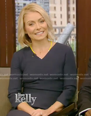Kelly's blue v-neck dress on Live With Kelly